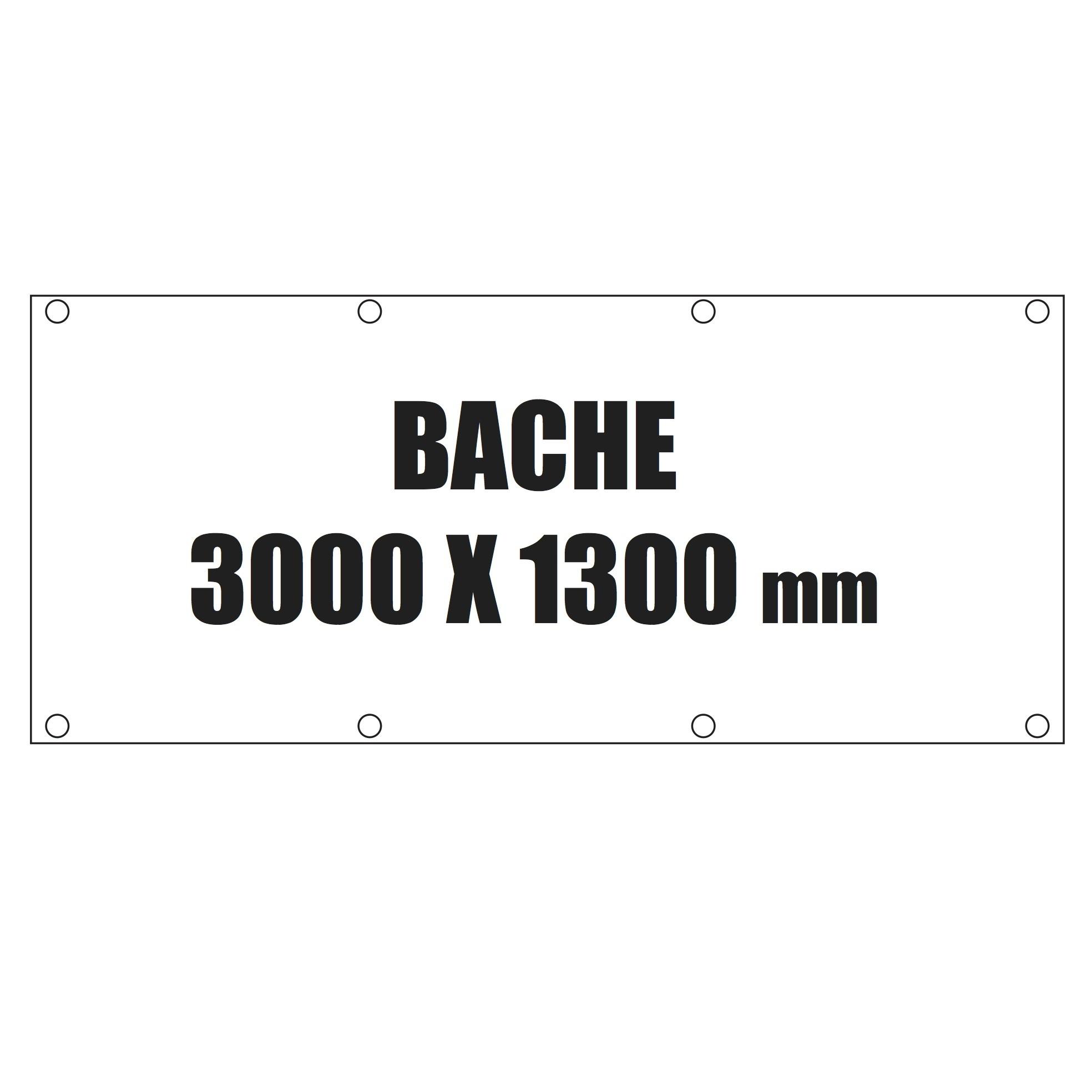 bache 3000x1300mm avec oeillets et marquage quadri b ches plv stand. Black Bedroom Furniture Sets. Home Design Ideas