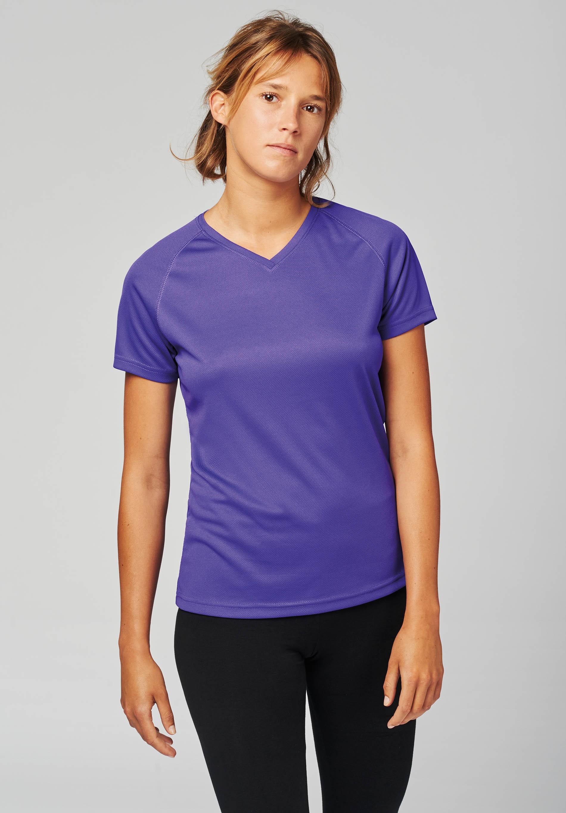 77a012b39983 T-shirt de sport manches courtes col v femme - Polyester Sport - T ...