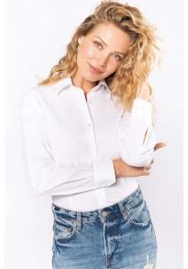 Chemise coton / élasthanne manches longues femme